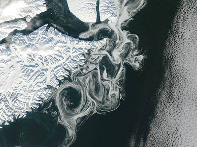 Satellite image of fine-scale currents with drifting sea-ice near eastern Greenland. Image Credit NASA