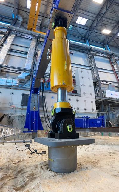 Scaled UMACK test anchor under load test at IWES facility. Image courtesy CorPower Ocean