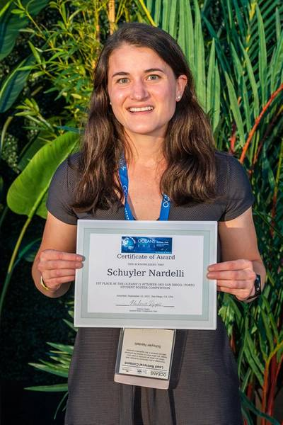 Schuyler Nardelli, Rutgers, won first palace in the 2021 OCEANS Student Poster Competition. Photo courtesy MTS
