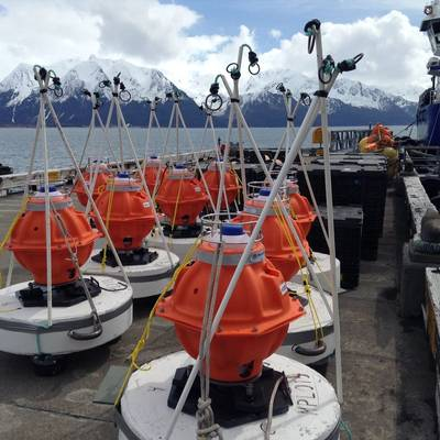 The seabed instruments which make up Sonardyne's seabed deformation monitoring system sit wating to be deployed off the coast of Canada. Image credit: David Chadwell/ Scripps Institution of Oceanography