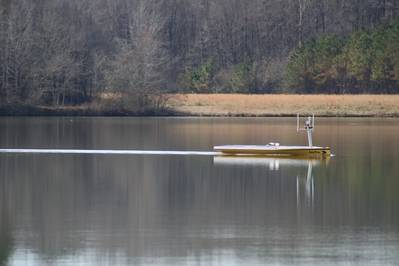 SeaTrac SP-48 at work sampling the waters in Whites Creek Lake, Mississippi. (Photo: SeaTrac Systems)