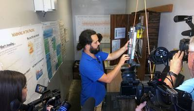 Seawater temperature measurements taken at Scripps Pier. (Photo Credit: Scripps Institution of Oceanography at the University of California San Diego)