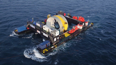 A second turbine bound for EDF's Paimpol-Bréhat tidal array was deployed by DCNS' OpenHydro in May (Photo: DCNS)