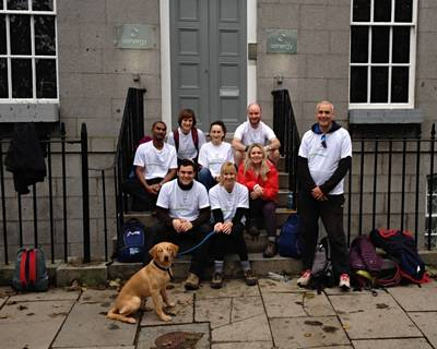 Senergy's staff in Aberdeen walked from the company's Banchory office to the city's Bon Accord Terrace.