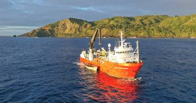 MV Silver Supporter on the previous expedition to Henderson Island, 2019. (Photo: Luke Hosty)