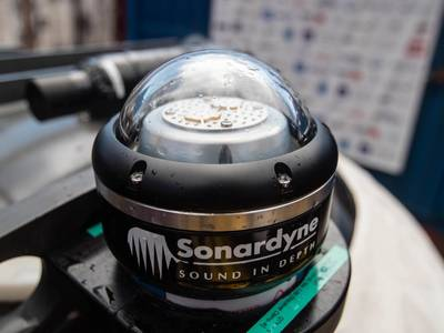 Sonardyne's BlueComm undersea communications system enables wireless transmission of high bandwidth tactical data, including video, underwater. (Photo: Sonardyne)