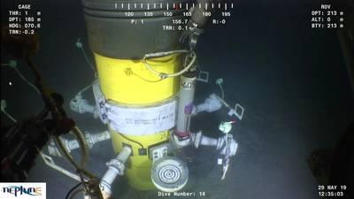 Sonardyne's Compatt 6+ in action, subsea (Photo: Sonardyne)