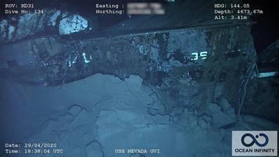 "The stern of the wreck has the remains of ""36"" and ""140.""  Nevada's designation was BB-36 and the 140 was painted on the structural ""rib"" at the ship's stern for the atomic tests to facilitate post-blast damage reporting. (Photo: Ocean Infinity/SEARCH, Inc.)"