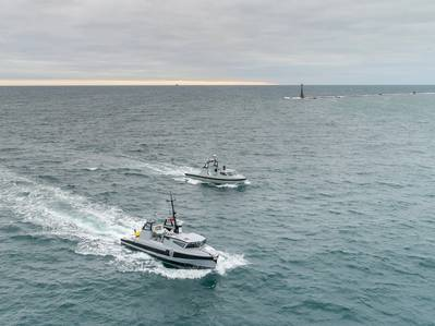 """Two Thales unmanned surface vessels are pictured entering Plymouth Sound for the first time.""  Photo credit: Shaun Roster Photography"