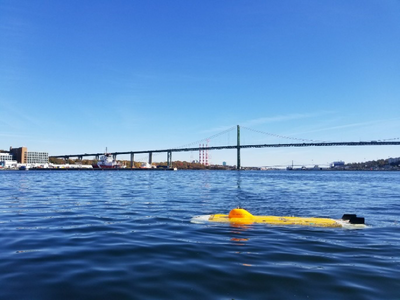 ThunderFish prototype undergoing sea trials in Halifax Harbour, November 2017. (Photo: Kraken Robotics Inc.)