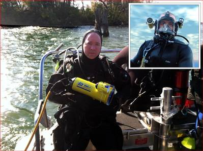 Tonawanda police diver with Fishers DHC-1, Inset - WJ Castle diver with Fishers MC-1