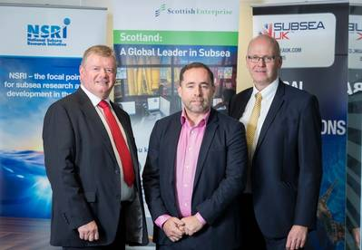 L- R: Tony Laing of NSRI, David Rennie of Scottish Enterprise and Neil Gordon of Subsea UK. (Photo: Subsea UK)