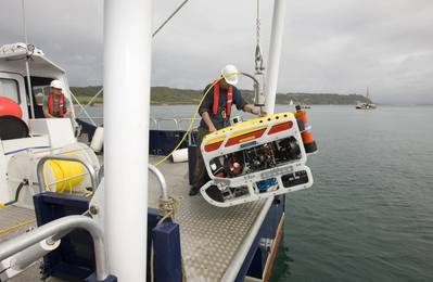 University of Plymouth's Saab Seaeye ROV launched off their vessel RV Falcon Spirit (Photo: Marine-i)