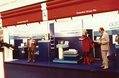 Valeport, which also celebrates its 50th anniversary in 2019, has always been committed to key industry exhibitions and has attended every single Oceanology show, an example of an early Valeport exhibition stand. Photo: Valeport