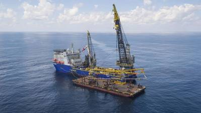 One of the vessels which will be used, DLV 2000 pipelay vessel, pictured off northwest Australia during the Ichthys project on which UTEC worked (Photo: UTEC)
