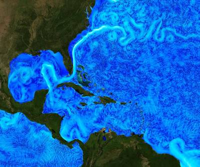 A visualization of the Gulf of Mexico Loop Current. (Image: Christopher Henze, NASA/Ames)