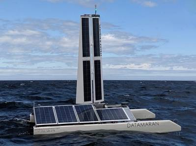The wind- and solar-powered Datamaran system aims to make offshore wind data gathering easier, faster, cleaner and more cost efficient. (Image: AMS, Equinor)