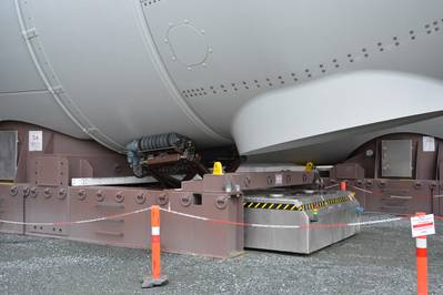 The wind turbine nacelle and hub interface with the generator rotation tool. (Photo: MacArtney)