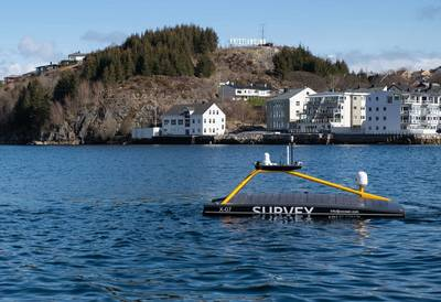 XOCEAN's Sonardyne-equipped XO-450 leaving Kristiansund to harvest data from Sonardyne's Fetch pressure monitoring transponders at Ormen Lange. Photo courtesy of SafePath.