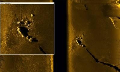 Εικόνα σόναρ EdgeTech 2205 του ARA San Juan 230kHz σε κλίμακα κλίμακας 400m (Credit: Ocean Infinity)