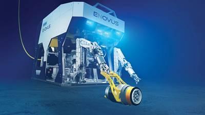 Η ηλεκτρική εργασία του Oceaneering eNovus ROV με χειροκίνητη διεπαφή εργαλείων. (Εικόνα: Ωκεανία)