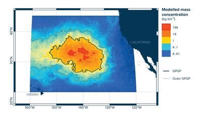 التركيز الجماعي النمطي للبلاستيك في رقعة قمامة المحيط الهادئ الكبرى (الصورة: مؤسسة تنظيف المحيط)