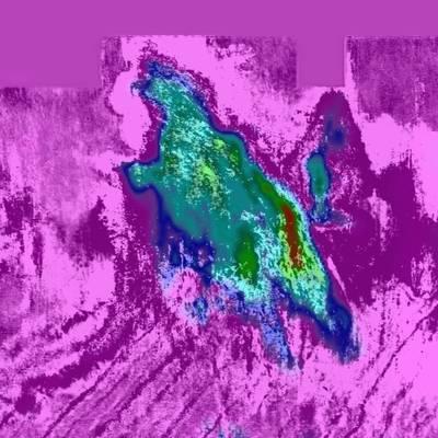 क्यू मॉडल के माध्यम से 5 9 5 मीटर की गहराई पर यह टुकड़ा स्पष्ट रूप से पीन गैस क्षेत्र की सीमा को दर्शाता है (सीजीजी मल्टी-क्लाइंट और न्यू वेंचर्स की छवि सौजन्य)
