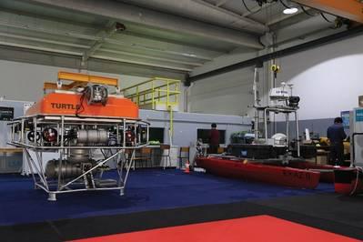 खनन एनबलर: INESC TEC का टर्टल लैंडर (एक उपकरण खाड़ी में और रखरखाव के लिए बढ़ रहा है)। फोटो: INESC TEC
