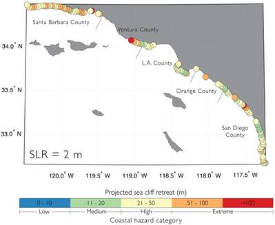 दक्षिणी कैलिफ़ोर्निया तटवर्ती मानचित्र का नक्शा समुद्र तल के 6.6 फीट का उपयोग करके चट्टानों की वापसी का पूर्वानुमान दिखाता है। ऑरेंज और लाल सर्किल 167 फीट से अधिक चरम कटाव का संकेत देते हैं। (छवि: यूएसजीएस)