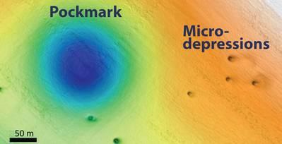 बिग सुर से दूर सीफ्लोर में पॉकमार्क और माइक्रो-डिप्रेशन दिखाते हुए सीफ्लोर मानचित्र। चित्र: © 2019 MBARI