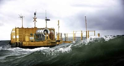 在爱尔兰戈尔韦湾测试的较小原型。 (照片:海洋能源)