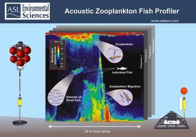声学浮游动物鱼类剖面仪(AZFP)示例系泊配置和数据时间序列。 (照片:ASL环境服务)