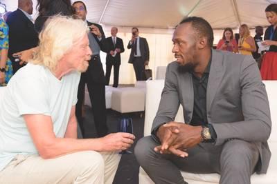 理查德布兰森与乌塞恩博尔特(图片:加勒比气候智能加速器)