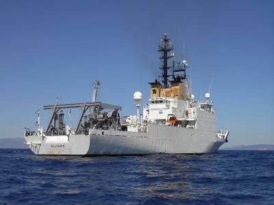 3100-тонное 305-футовое исследовательское судно НАТО NRV Alliance является ведущей платформой для исследований подводной акустики на благо военно-морских сил НАТО. Фото: НАТО CMRE