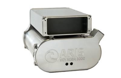 ARIS Voyager 3000 envolto em uma concha de titânio para exploração em águas profundas (Foto: Sound Metrics)