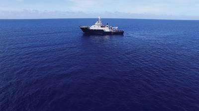 Der R / V Petrel, im Besitz von Microsoft Cofounder und Philanthropist Paul G. Allen, auf See auf der Suche nach der USS Indianapolis. (Foto mit freundlicher Genehmigung von Paul G. Allen)