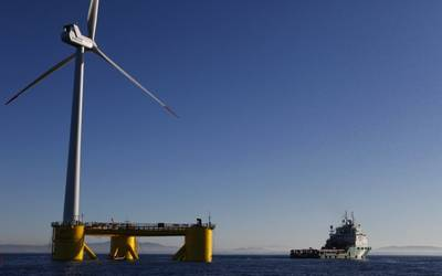Installation des Windfloat-Prototyps in Portugal im Jahr 2011 (Foto: Bourbon Subsea Services)