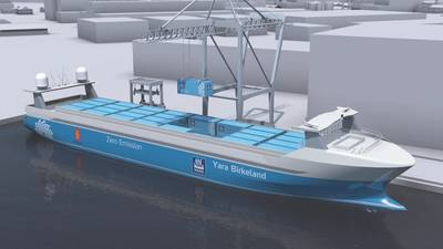 Kongsberg的Yara Birkeland无人驾驶集装箱船的概念。 (Image:Kongsberg)