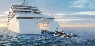 REPRESENTACIÓN DEL NUEVO BARCO VIKING: Esta representación muestra cómo se verán los nuevos barcos de la expedición vikinga, incluido el hangar para el lanzamiento de pequeños barcos. Crédito: vikingo