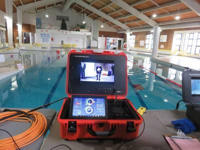 O ROV Oceanus Pro da empresa canadense MarineNav pode ser operado por apenas uma pessoa e é projetado como um robusto ROV classe de inspeção capaz de operar a uma profundidade máxima de 1000 pés (305 metros) a uma velocidade máxima de seis nós para uso em hélice inspeções de casco e cais e missões submarinas de busca e recuperação. Foto: Tom Mulligan