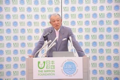 Yohei Sasakawa lanza la fase operativa del proyecto de la Fundación Nippon - GEBCO Seabed 2030 en Tokio en febrero de 2018. Foto: GEBCO Seabed 2030