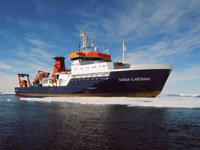 El buque de investigación de Alemania, Maria S. Merian, utilizará su nueva tecnología de seguimiento Sonardyne para llevar a cabo operaciones científicas en todo el mundo, incluido el subpolar Norwegian Sea. (mage: Briese Schiffahrts GmbH & Co. KG, Investigación   Forschungsschifffahrt)