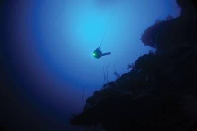 O depressor BlueComm de Sonaryne na água em Aldabra, durante a missão Nekton First Descent. Foto: Nekton Oxford Deep Ocean Research Institute