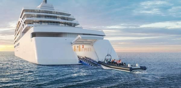 ΠΑΡΟΧΗ ΝΕΟΥ ΣΚΑΦΟΥΣ VIKING: Αυτή η απόδοση δείχνει τι θα φανεί τα νέα πλοία αποστολών Viking, συμπεριλαμβανομένου του υπόστεγου για την εκτόξευση μικρών σκαφών. Πίστωση: Βίκινγκ