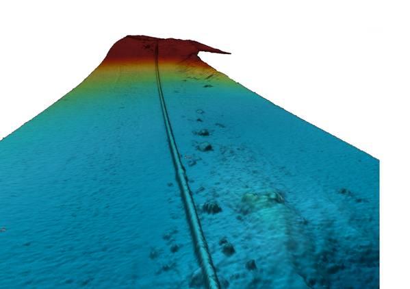 एयूवी मल्टी-बीम इको साउंडर सेंसर द्वारा अधिग्रहित समुद्री तट पर पाइपलाइन की छवि। (छवि: तलवार seabed)