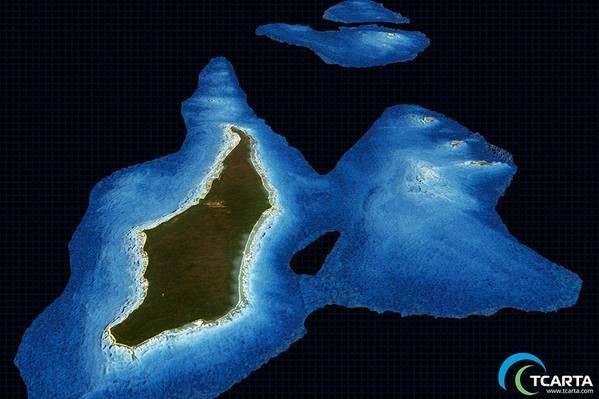 सैटेलाइट व्युत्पन्न बाथमेट्री (एसडीबी) 10 मीटर (छवि: टीकार्टा) के एक प्रस्ताव पर