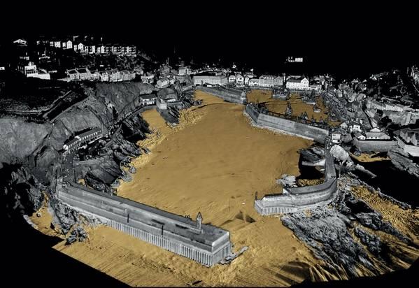 新しいUltrabeam水路(Image:Ultrabeam Hydrographic)によって収集されたデータを使用して生成されたMevagissey Harborの3D画像