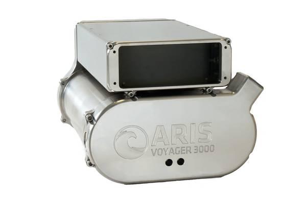 深海探査のためのチタン製シェルに収納されたARIS Voyager 3000(写真:サウンドメトリクス)