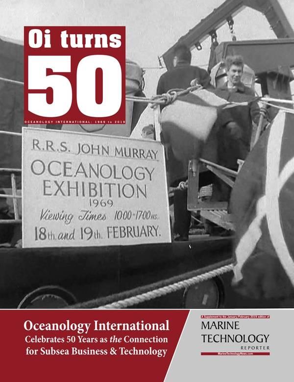 Anexado aqui está um link para a primeira edição comemorativa, que foi produzida antes da Oceanology International Americas, marcada para San Diego em duas semanas: https://magazines.marinelink.com/NWM/Others/OI50/
