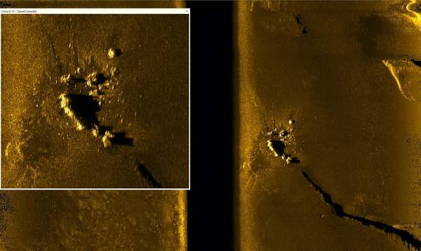 Imagen de sonda EdgeTech 2205 de ARA San Juan 230kHz a una escala de 400 m (Crédito: Ocean Infinity)